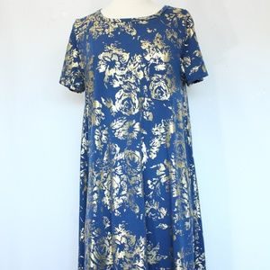LuLaRoe Carly Dress Medium Gold Floral print
